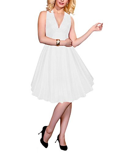 Dressystar Robe Vintage 1950S à 'Audrey Hepburn' Sexy Style Halter,dos nu,à col V Blanc