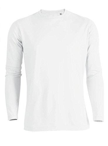 YTWOO Herren Langarmshirt (Longsleeve) Rundhals-Ausschnitt aus Bio-Baumwolle Schwarz bis XXL und in verschiedenen Farben nachhaltige und Faire Mode Organic (M, Weiss)