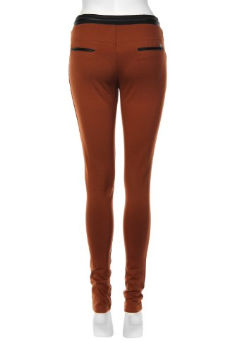 Elastischer Bund contrastant Leggings Braun