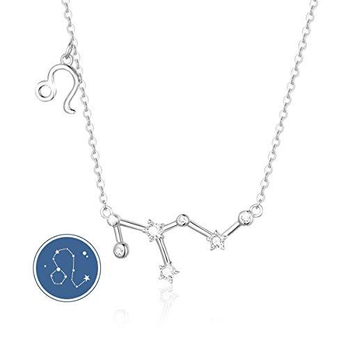 SIMPLOVE Collar de Plata Esterlina con Horóscopo de León de Plata Esterlina con Colgante del Zodiaco con Collar de Regalo de Cumpleaños de Constelaciones -