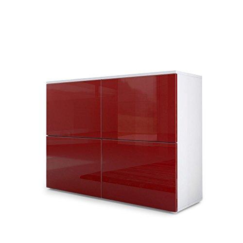 Vladon Kommode Sideboard Rova, Korpus in Weiß matt/Türen in Bordeaux Hochglanz und Bordeaux Hochglanz