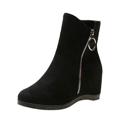 KERULA Stivali Sneakers Invernali Autunno,Unisex Adulto Moda Sexy Caviglia Tacco Basso Lato Occidentale Cerniera Punta Tonda Tinta Unita con Scarpe,Stiv