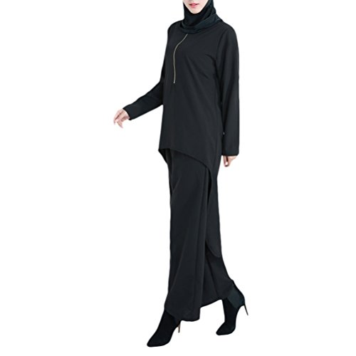 Zhhlinyuan Fashion Kleider Muslims Tuxedo Suit Retro Womens Shirt and Pants Suit Clothes Set for (Kleid Tuxedo Womens)