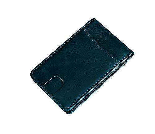 AURORA RACING Herren Geldbörse RFID, echtes natürliches Crazy Horse, Leder, faltbar, mit Ausweisfenster - Blau -