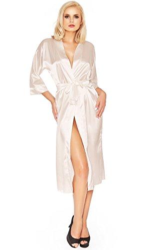 Postero PN107 - Robe de chambre - style kimono - satin Écru clair