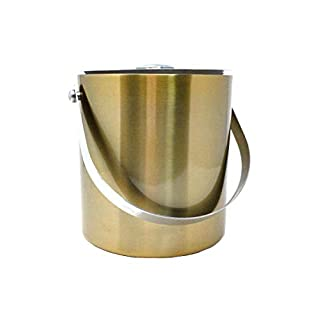 ARSUK Ice Bucket Double Walled Insulated Food Graded Matt Silver Colour Stainless Steel Metal Lid, Carry Handle Contains 2 Litres (Gold)