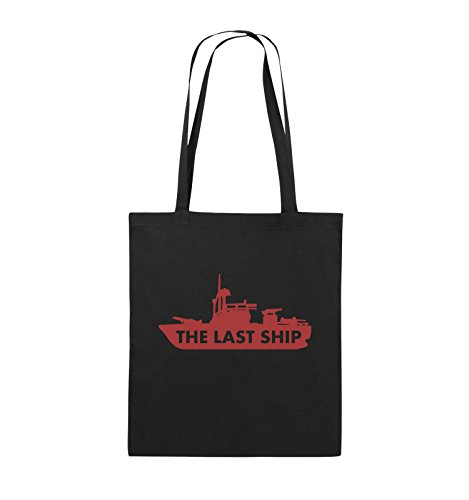 Comedy Bags - THE LAST SHIP - Jutebeutel - lange Henkel - 38x42cm - Farbe: Schwarz / Silber Schwarz / Rot