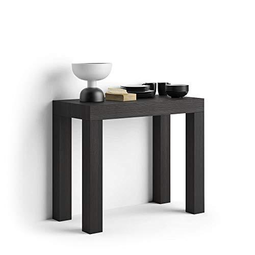 Mobili fiver, tavolo consolle allungabile first, frassino nero, 90 x 45 x 75 cm, nobilitato/alluminio, made in italy, disponibile in vari colori