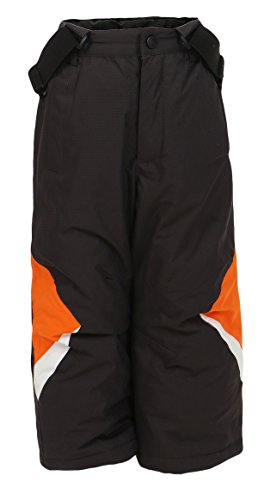PM Kinder Outdoor Hose Skihose Snowboardhose Unisex Jungen Mädchen Funktionshose Thermohose Winterhose KC1223 (grau-orange,110) (Fleece Hose Jungen Gefütterte)