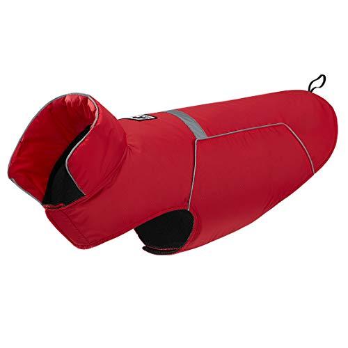 GWELL Hund Regenjacke Reflektierende 100% Wasserdichte Hundejacke mit Fleece Regenmantel Warnweste Hundebekleidung für kleinen großen Hund Rot L