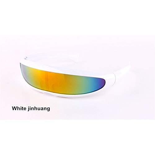 sijiaqi Lustige Alien Sonnenbrillen Männer X-Men Persönlichkeit Laser Brille Kühlen Siamesische Roboter Sonnenbrille Frauen Sonnenbrille Brille,White jinhuang