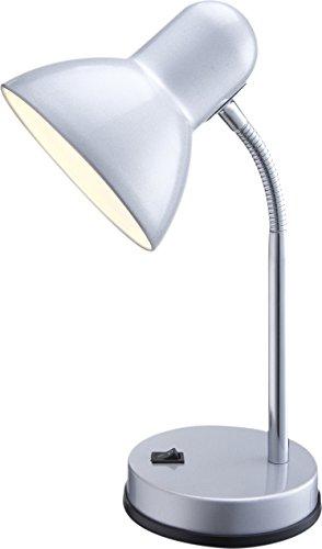 Globo Tischleuchte, silber/chrom, Metall Kunststoff, Schalter 1 x 60W E27 230V, H: 30 cm 2487 -