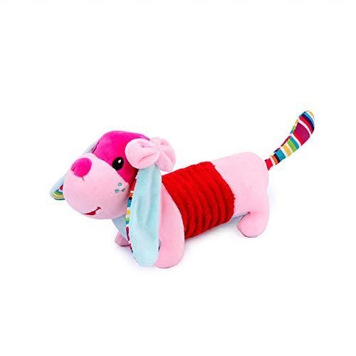 Vocal Puppy Plüschtier - Baby-Karikatur-Geklapper-Spielzeug Kreative Lustige Rattle Dog Puppe Appease Hundespielzeug für Säuglingskleinkind-pink -