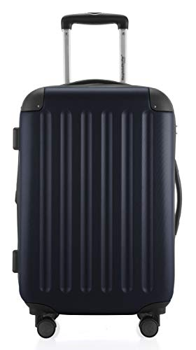 HAUPTSTADTKOFFER - Spree - Handgepäck Hartschalen-Koffer Trolley Rollkoffer Reisekoffer Erweiterbar, TSA, 4 Rollen, 55 cm, 42 Liter, Dunkelblau