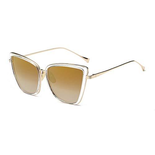 YOGER Sonnenbrillen Mode Frauen Sonnenbrille Katze Spiegel Gläser Metall Cat Eye Sonnenbrille Frauen Designer Hohe Qualität Platz Uv400