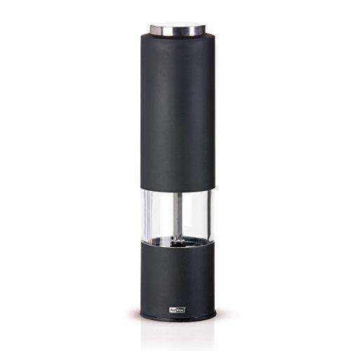 AdHoc Elektrische Pfeffer- oder Salzmühle Pfeffermühle Holzvorleger EP22schwarz mit Licht (H. Nr.)