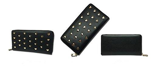 Xinmaoyuan Portafogli donna in vera pelle borsa a mano lungo la sezione Portafogli donna cuore Zipper Bag,Nero Nero