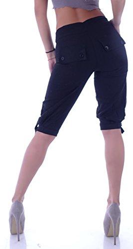 Leinenhose Damen Leinen Shorts Bermudas Caprihose stoffhose Cargohose Chinos Schwarz
