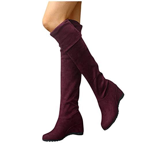 Overknee Stiefel Damen Sockenstiefel Winterstiefel mit Blockabsatz, Frauen Sockenstiefel High Heels Lang Boots Elegante Schuhe Bequem Winter Warme Damenschuhe Celucke (Rot, 36 EU)