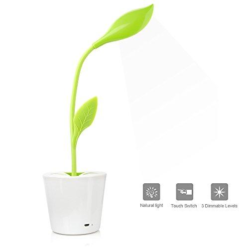 Lampada da scrivania iegrow 1w con porta usb 3 livelli di dimmerabile controllo touch-sensitive lampada da tavolo a led (verde chiaro)