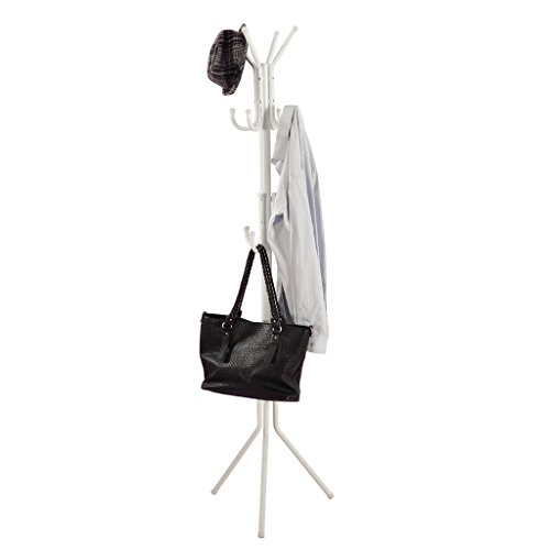 LANGRIA 3 Tier 11 Hook Free Standing Coat and Hat Rack for Garage Foyer Office Closet, White