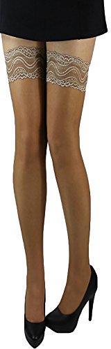 Halterlose Strümpfe mit farbigen Spitzen und Silikonstreifen schwarz, haut oder weiß 20 den (L-XL, beige gebräunt 3) (Farbige Halterlose Strümpfe)