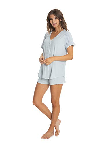 Barefoot Dreams Damen Luxe-Milk Jersey Kurzarm PJ Top & Boxer Set Nachtwäsche-Set - Blau - Large -