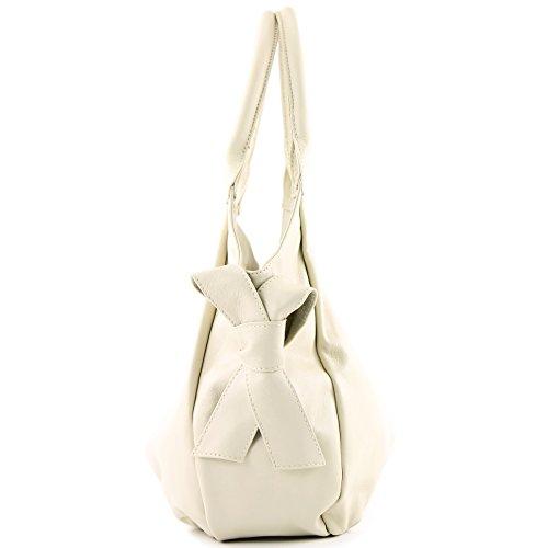 modamoda de �?borsa in pelle da donna borsa a mano borsa a tracolla borsa donna pelle nappa IT28 Crema
