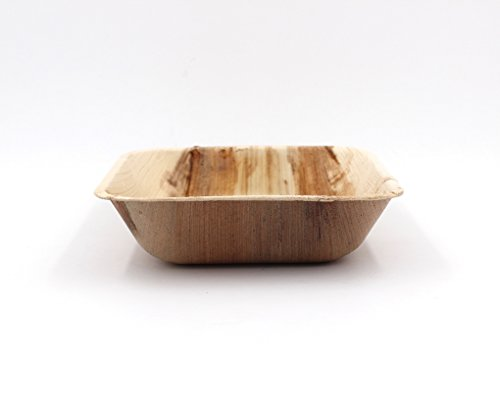 Ecosoulife Palm Leaf-Square Bowl 6 Natural, 12 Count Deep Square Bowl
