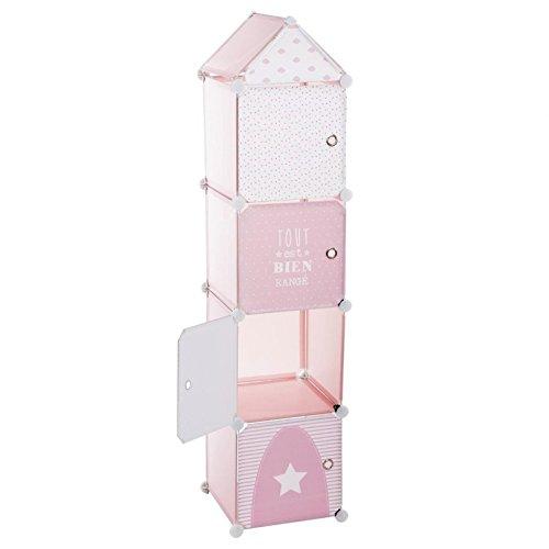 Mueble de almacenamiento columna - Forma Torre - Color ROSA GRIS y BLANCO