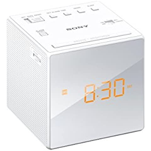 Sony ICF-C1 - Radiodespertador (AM/FM, alarma, fecha, pantalla LED), color blanco