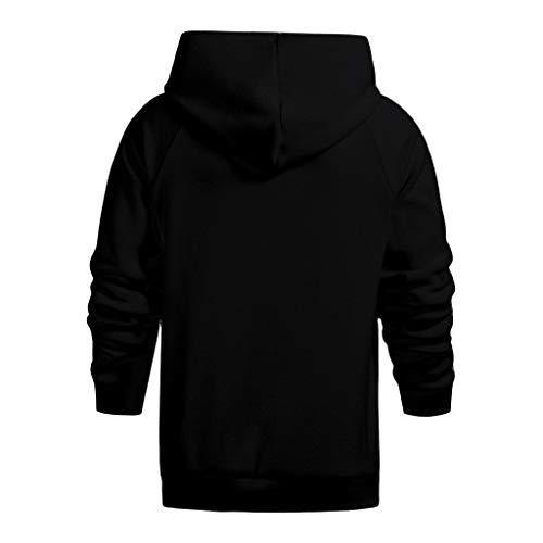 (Yvelands Herren Hoodies Sweatshirts Winter-warme beiläufige lose Filz Plüsch Hoodie Coat Top(Schwarz,CN-3XL))