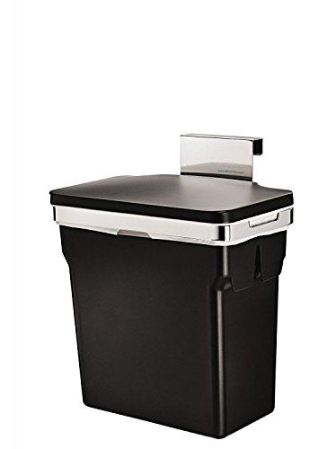 simplehuman Abfalleimer für Küchenschrank,10 L, Schwarz mit Befestigung, 30x18,5x31cm