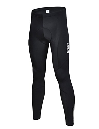 iCreat Mens Cycling Tights Legging Trouser cycle pants Compression Long Pants reflective elements with seat padded cushion Coolmax