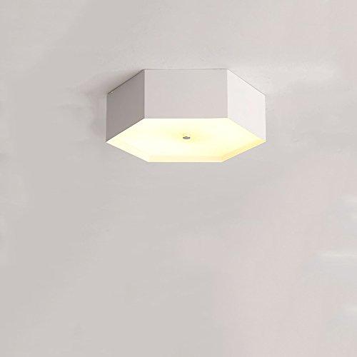 Crayom Skandinavischen LED Wohnwagen geometrischen sechseckigen Deckenleuchte Einfache moderne Wohnzimmer Schlafzimmer Büro Deckenleuchte Korridor Gang Restaurant Schlafzimmer Studie einfach zu installieren Decke Beleuchtung Leuchten ( Color : White-s (Maske Bain)