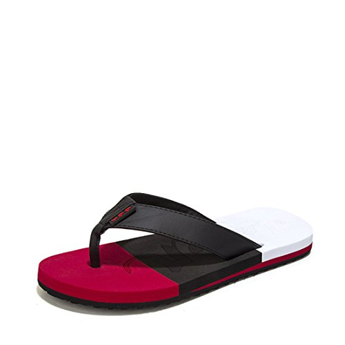 Men's Beach Flip Flops Outdoor Slippers Black Red