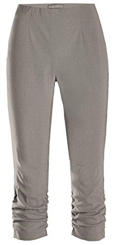 Geraffte Knie Hoch (Stehmann Maria-530, stretchige Caprihose bis zum Knie seitlich gerafft Größe 38, Farbe silber)