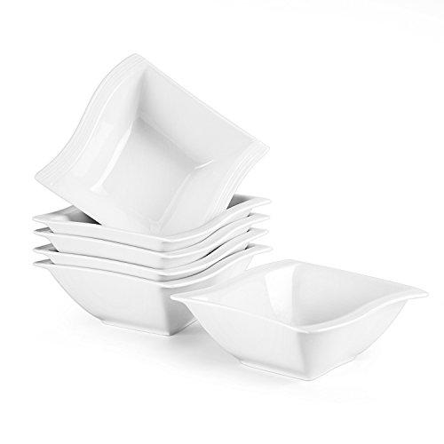 Malacasa Série Flora 6pcs Bols à Céréales Porcelaine Coupelle Bol à Riz Soupe Tapas Sauce Service de Table Petit Déjeuner 14*14,5*5,5cm, Céramique Blanc