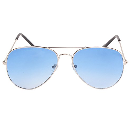 Louis Geneve Stylish & Fashionable Silver Metal Frame with Blue Shade Lens Wayfarer Sunglasses - VALENTINE OFFER  available at amazon for Rs.179