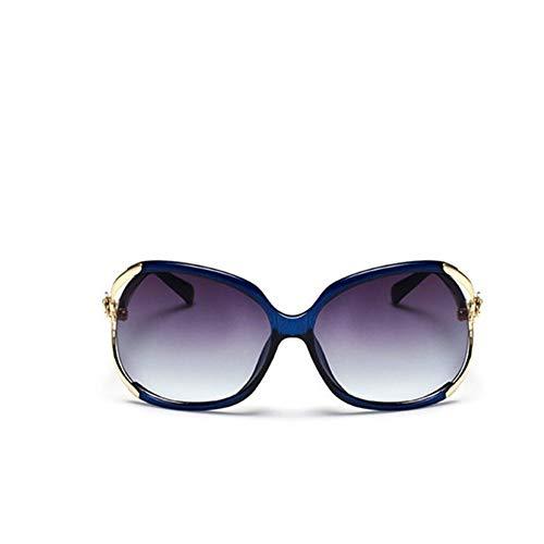 WDDYYBF Sonnenbrillen, Weibliche Mode Übergrosse Sonnenbrille Frauen Rahmen Kunststoff Sonnenbrille Outdoor Reisen Fahren Sonnenbrillen Brillen Uv 400 Blau Rahmen Gold Rim Farbverlauf Lila Objektiv