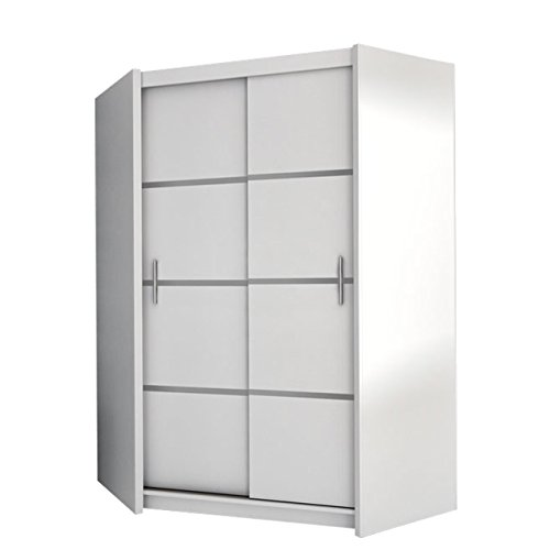 #Mirjan24  Eckkleiderschrank Vista, Eckschrank mit 5 Einlegeböden und Kleiderstange, Drehtürenschrank für Schlafzimmer, Jugendzimmer, Kleiderschrank (Weiß)#