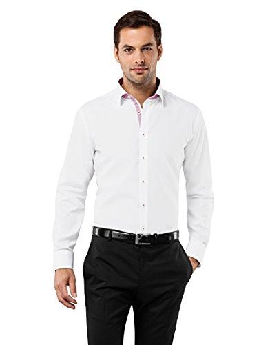 Vincenzo Boretti Herren-Hemd Bügelfrei 100% Baumwolle Slim-Fit Tailliert Uni-Farben - Männer Lang-Arm Hemden für Anzug mit Krawatte Business Hochzeit Freizeit Weiß 37/38