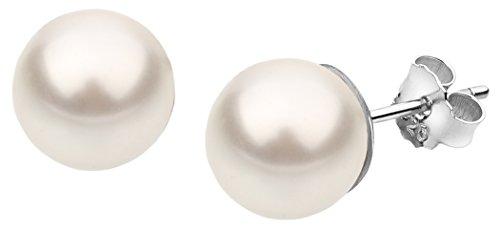 Nenalina Silber Damen-Ohrringe Ohrstecker mit Swarovski Perlen 10 mm Weiß für Frauen, 925 Sterling Silber, Ohrstecker für Damen mit Perlen, Hochzeit Ohrringe, 842402-190
