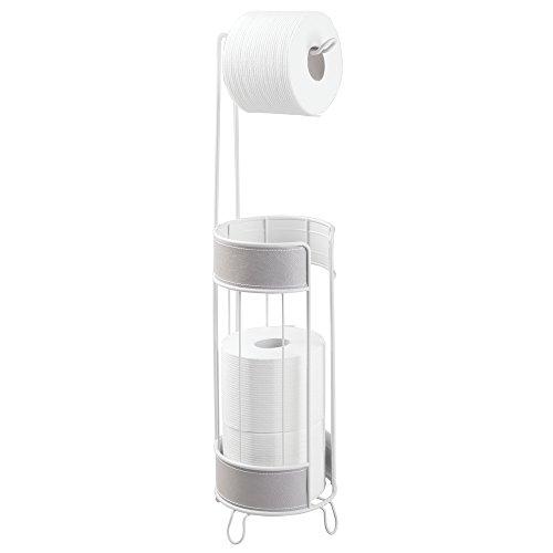 mDesign - Accesorios para baño sin taladro - Portarrollos baño - Este portarrollos papel higiénico le da un toque de diseño a su cuarto de baño - Color: Gris/blanco