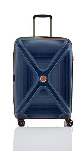"""TITAN \""""PARADOXX\"""" von Robuste Hartschalen-Trolleys in modernem Design mit Akzenten in Leder-Optik Koffer, 68 cm, 80L, Navy"""
