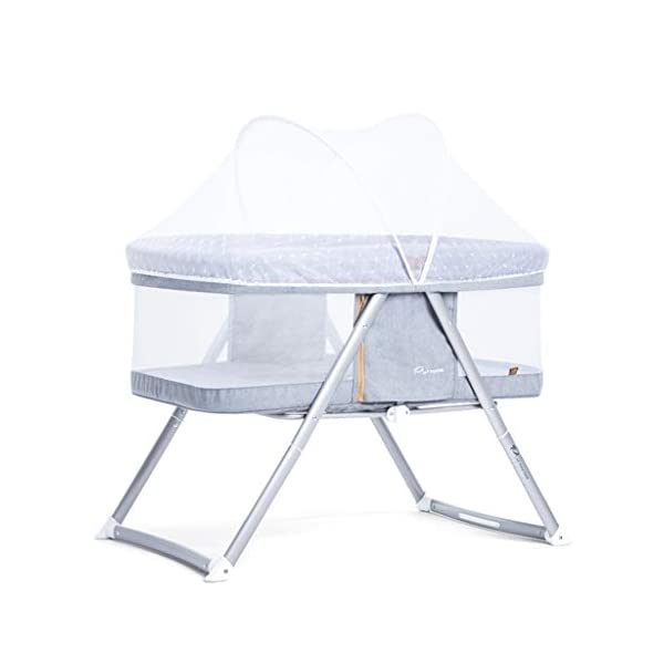Multifunction Baby Cot, Mosquito Net Metal Foldable Space Saving Shaker Bedside Travel Bed, 54 * 91 * 66CM (Color : Gray) Zhao ♥ Product Name: Multifunctional crib / / Size: 54 * 91 * 66CM / / Material: cloth; ♥Characteristics: widening and widening, high fence, no need to worry about naughty baby turning over, easy to install, one-handed one-button storage, fine-woven high-density linen, not easy to wrinkle, encrypted polyester mosquito net, high-molecular alumina thickened tube, Strong bearing capacity; ♥Bionic uterus design, give your baby enough safety, let the baby sleep sweetly; 1