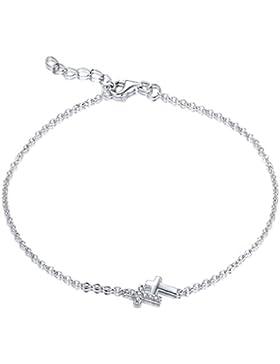 YL Armband Damen Silber-Armband Teenager Mädchen 925 Sterling Silber Zirkonia Unendlichkeit/Kreuz/Herz Armband...