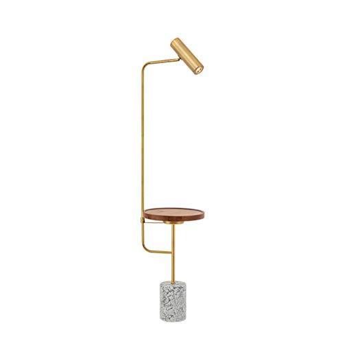 Floor Stand Lights - Nordic Marmor Sockel Stehlampe Mit Tisch Wohnzimmer Sofa Schlafzimmer Nacht Stehendes Licht - Design Fixture Lighting (Farbe : Black walnut) -