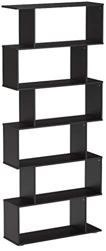 Homcom Estantería con 6 Estantes para Libros - Color Negro - Material de Madera - Dimensiones 80x25x192cm