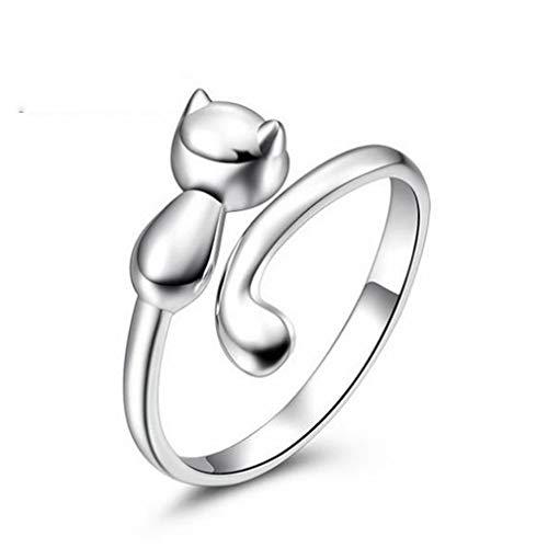 Chereda Kleine Katzen-Ring, Silber, modisch, offen, Verlobungsring, weiblich, Hochzeitsringe, für Frauen